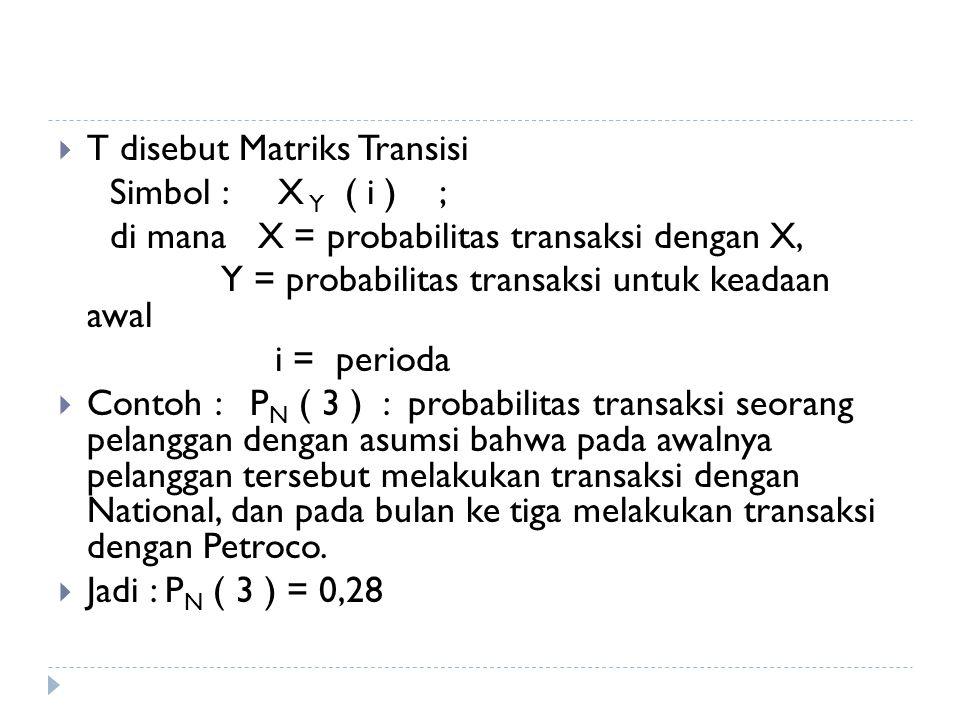 T disebut Matriks Transisi