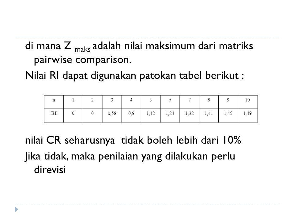 di mana Z maks adalah nilai maksimum dari matriks pairwise comparison.