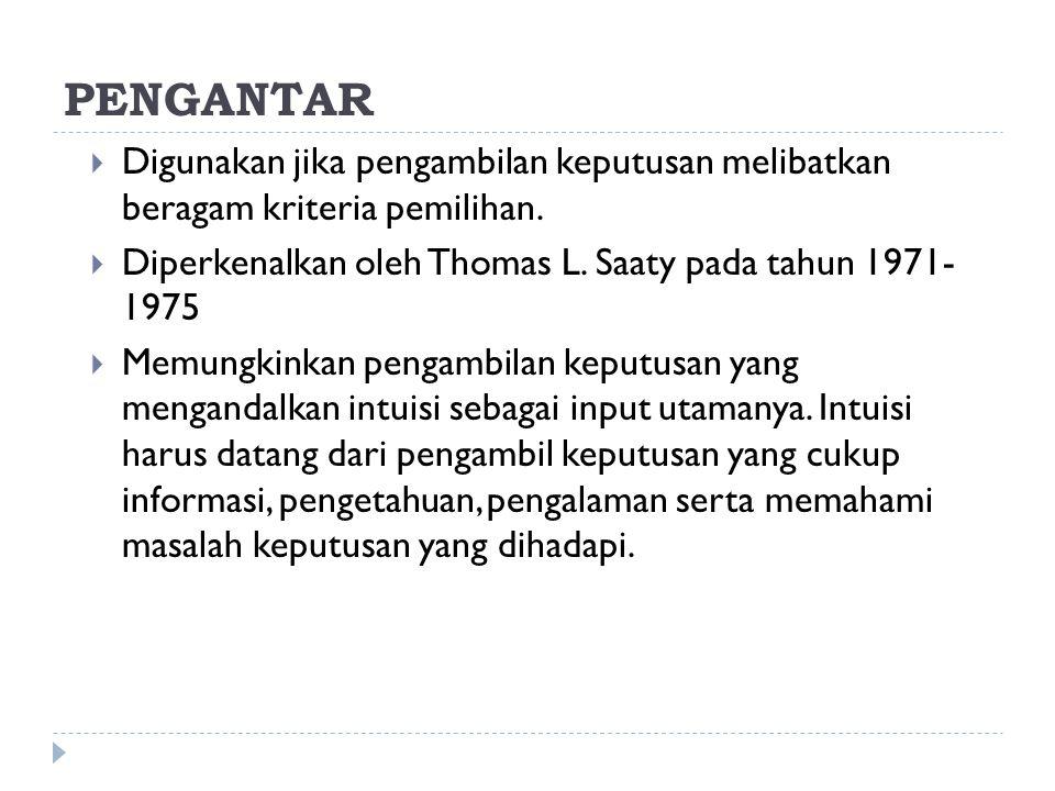 PENGANTAR Digunakan jika pengambilan keputusan melibatkan beragam kriteria pemilihan. Diperkenalkan oleh Thomas L. Saaty pada tahun 1971- 1975.