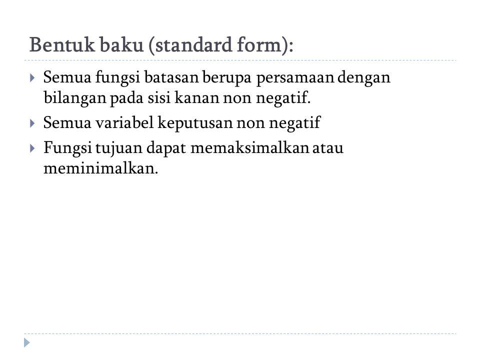 Bentuk baku (standard form):