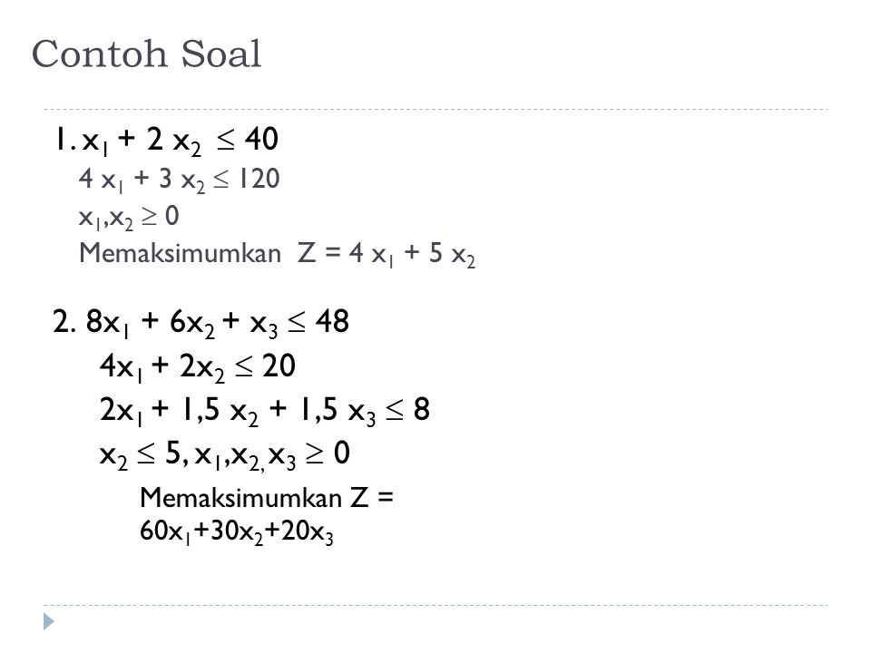 Contoh Soal 1. x1 + 2 x2  40 2. 8x1 + 6x2 + x3  48 4x1 + 2x2  20