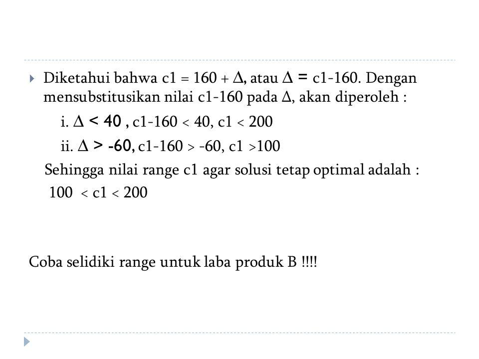 Diketahui bahwa c1 = 160 + ∆, atau ∆ = c1-160
