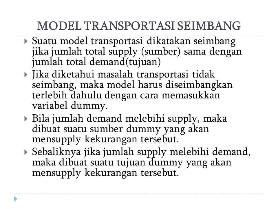 MODEL TRANSPORTASI SEIMBANG