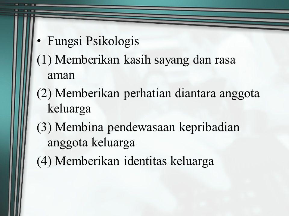 Fungsi Psikologis (1) Memberikan kasih sayang dan rasa aman. (2) Memberikan perhatian diantara anggota keluarga.