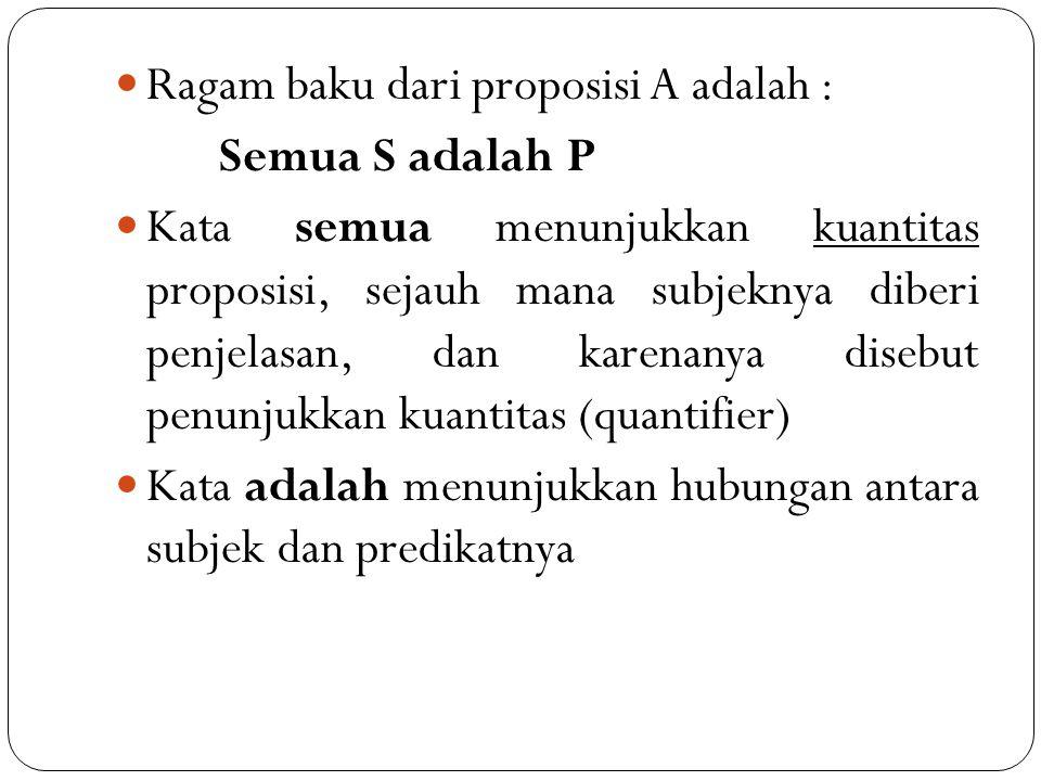 Ragam baku dari proposisi A adalah :