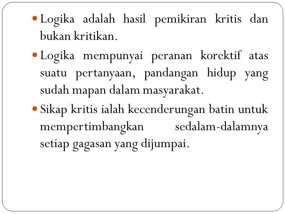 Logika adalah hasil pemikiran kritis dan bukan kritikan.