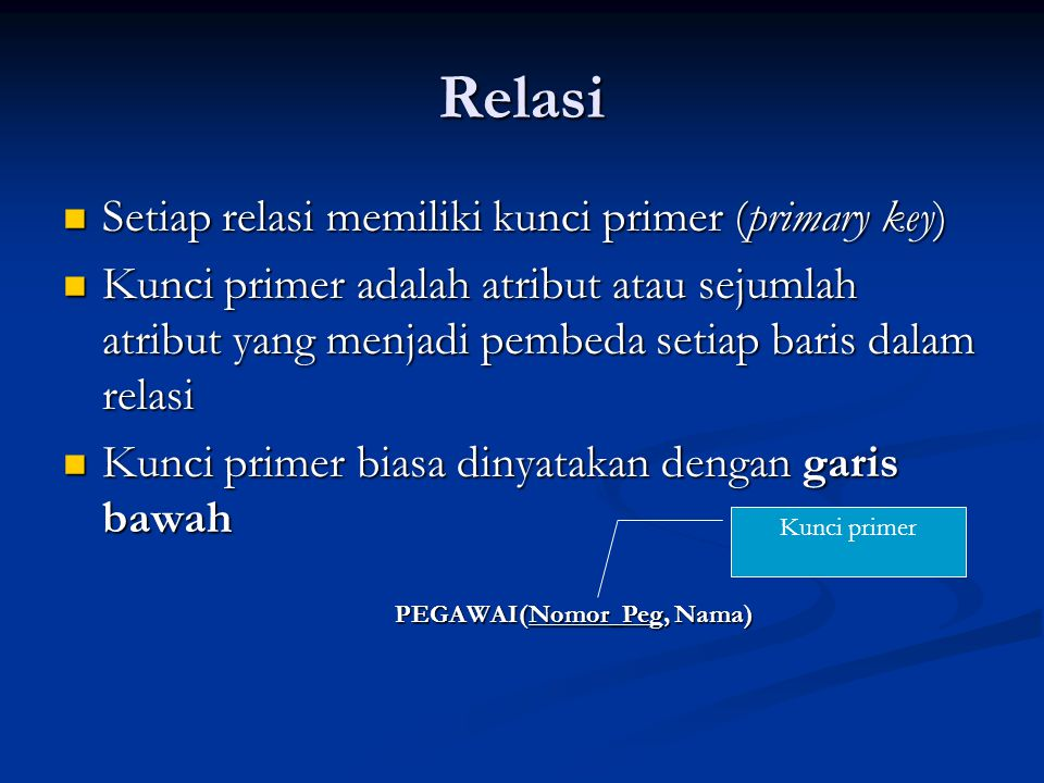 Relasi Setiap relasi memiliki kunci primer (primary key)