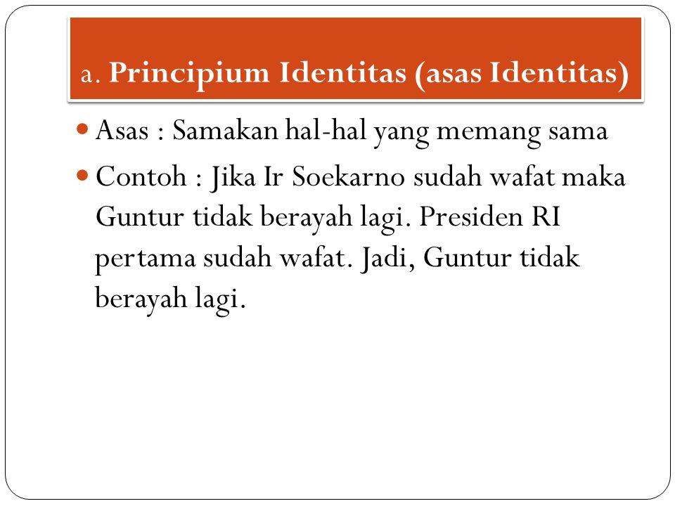 a. Principium Identitas (asas Identitas)