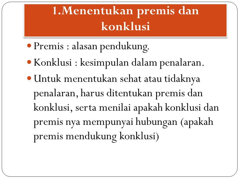 1.Menentukan premis dan konklusi