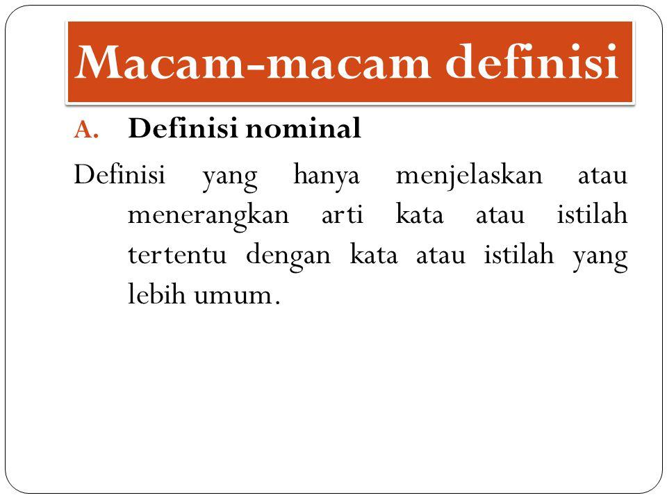 Macam-macam definisi Definisi nominal