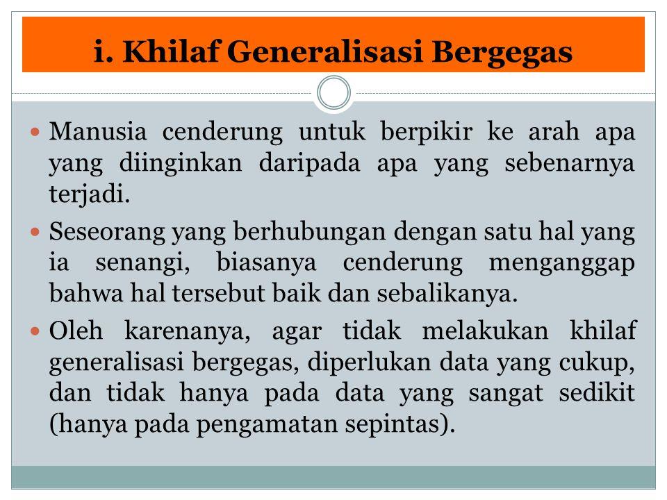 i. Khilaf Generalisasi Bergegas