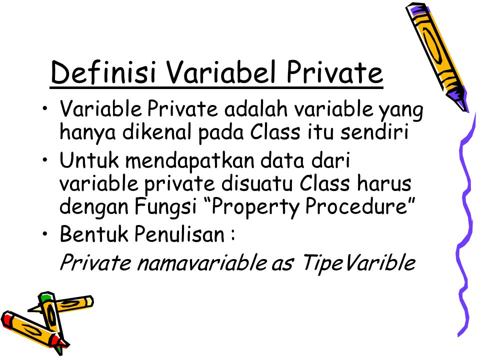 Definisi Variabel Private