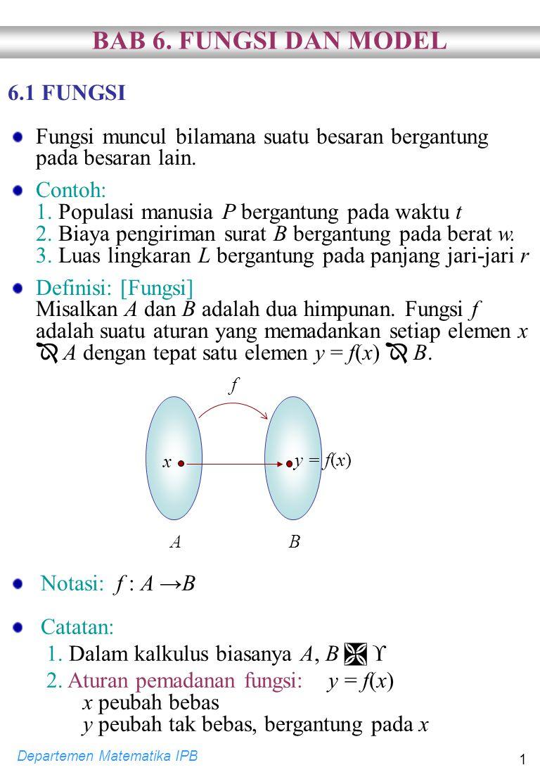 BAB 6. FUNGSI DAN MODEL 6.1 FUNGSI