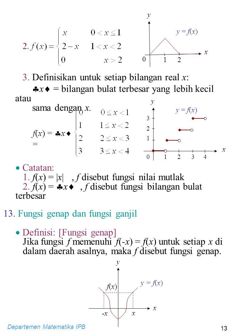 3. Definisikan untuk setiap bilangan real x: