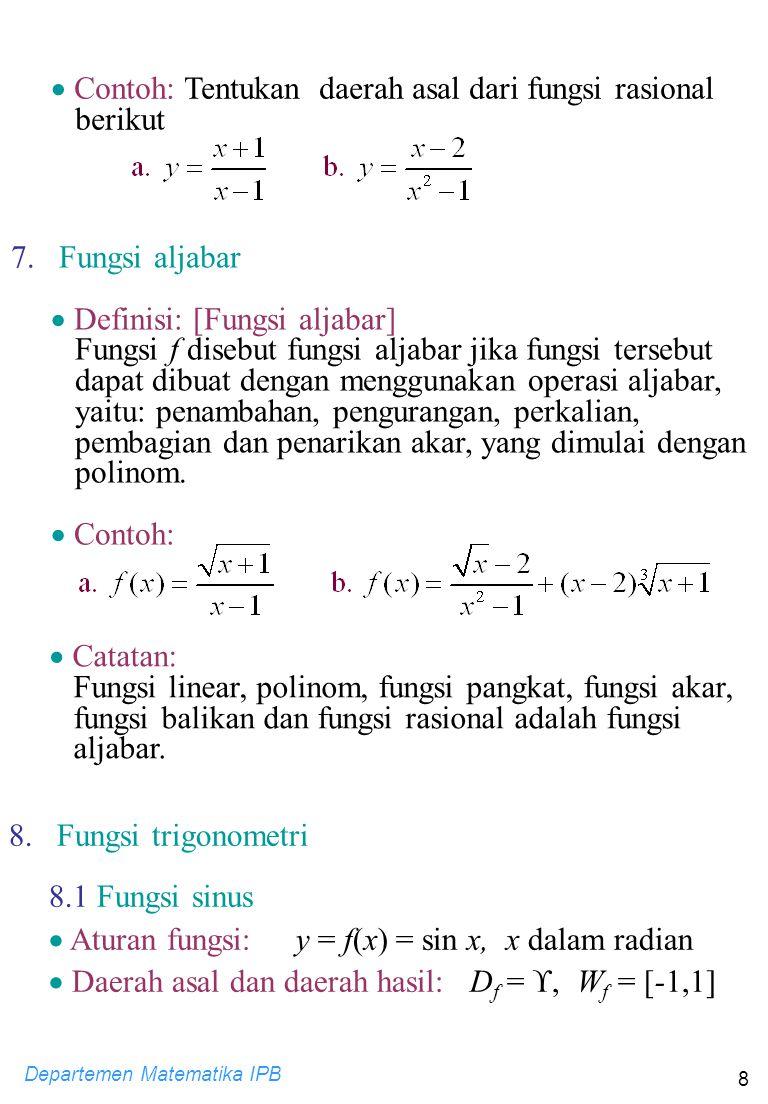 Contoh: Tentukan daerah asal dari fungsi rasional berikut