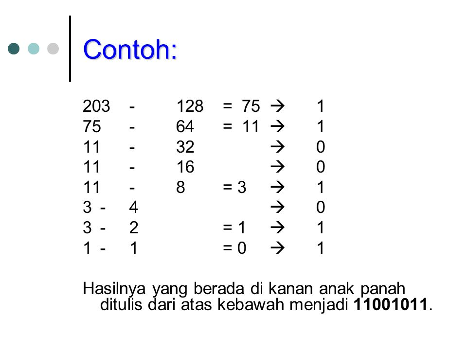 Contoh: 203 - 128 = 75  1. 75 - 64 = 11  1. 11 - 32  0. 11 - 16  0. 11 - 8 = 3  1. 3 - 4  0.