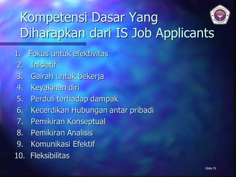 Kompetensi Dasar Yang Diharapkan dari IS Job Applicants