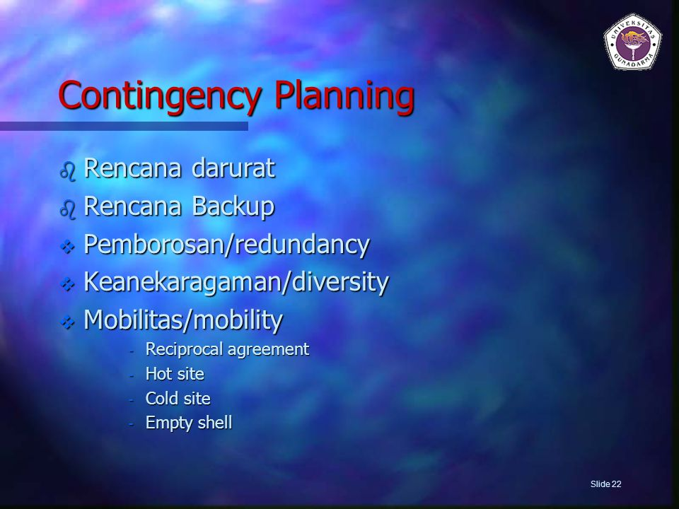 Contingency Planning Rencana darurat Rencana Backup