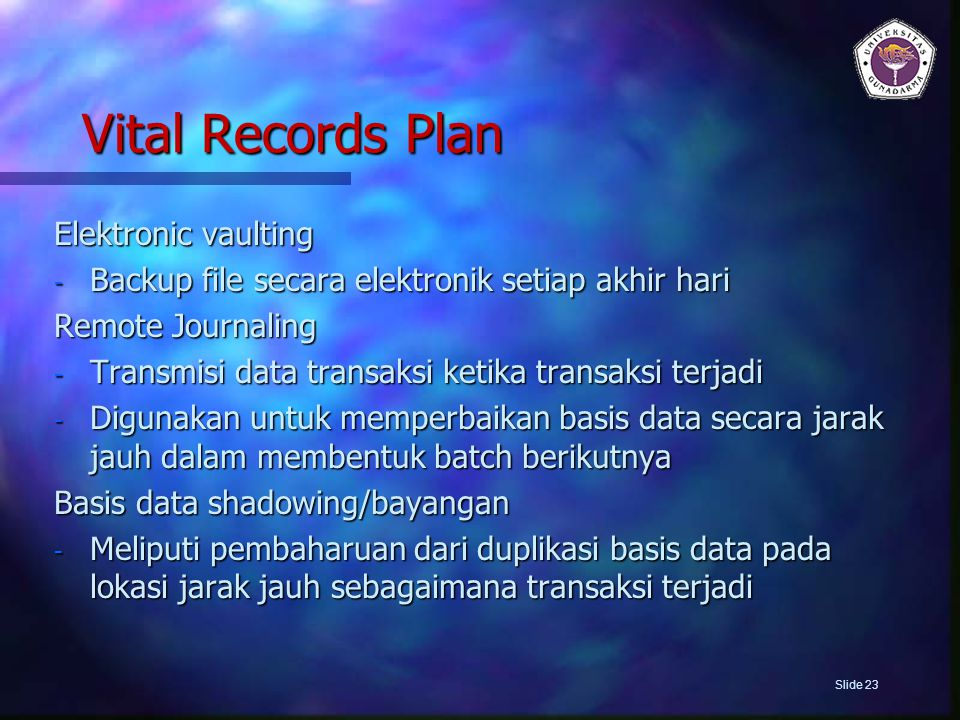 Vital Records Plan Elektronic vaulting