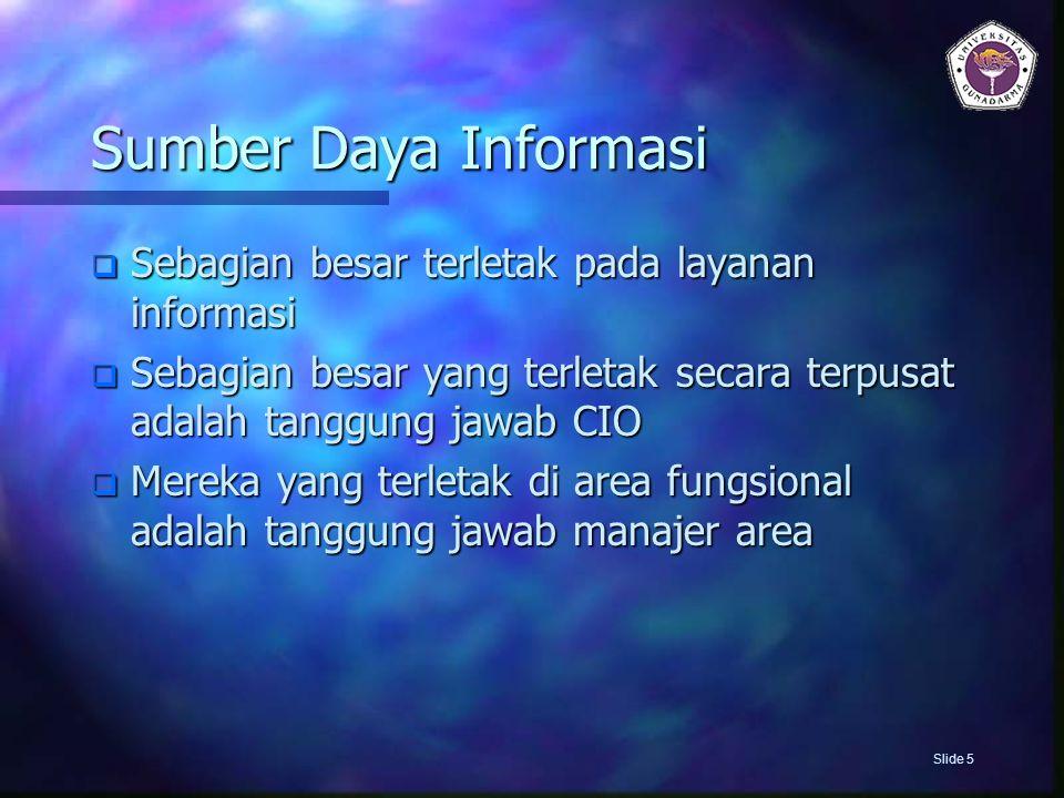 Sumber Daya Informasi Sebagian besar terletak pada layanan informasi