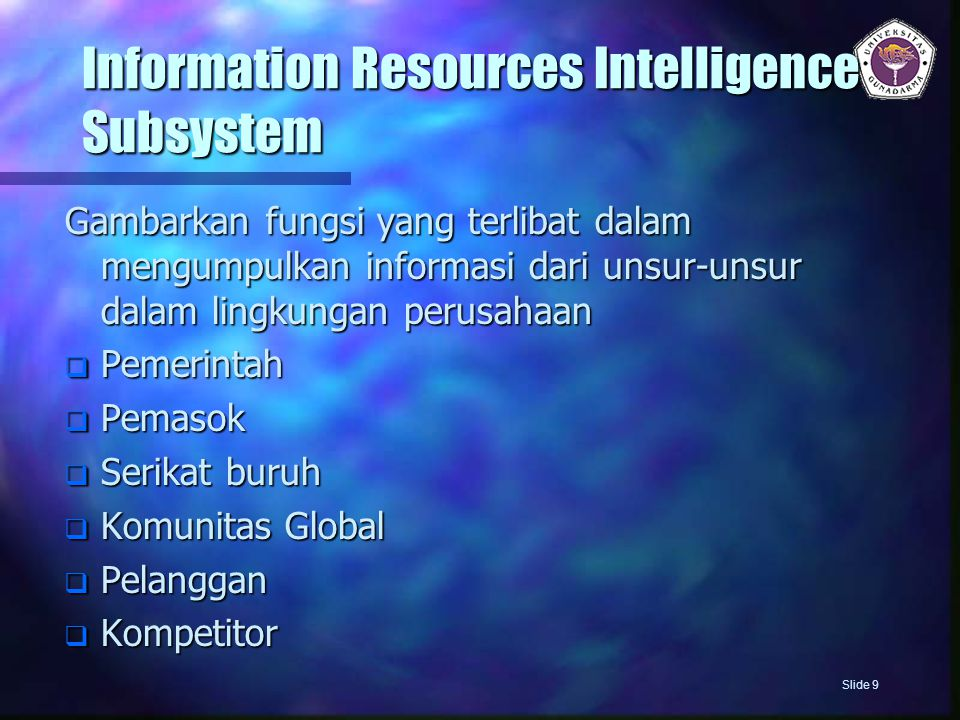 Information Resources Intelligence Subsystem