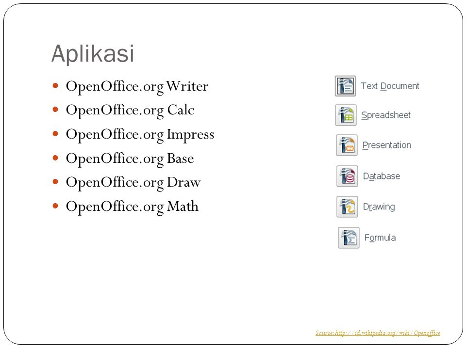 Aplikasi OpenOffice.org Writer OpenOffice.org Calc