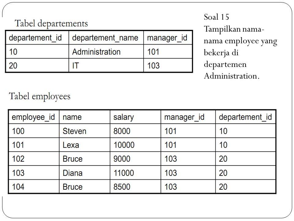 Soal 15 Tampilkan nama-nama employee yang bekerja di departemen Administration.