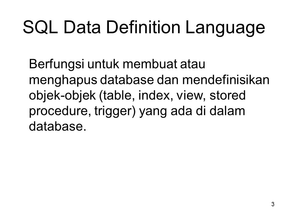 SQL Data Definition Language