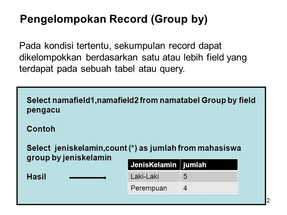 Pengelompokan Record (Group by)