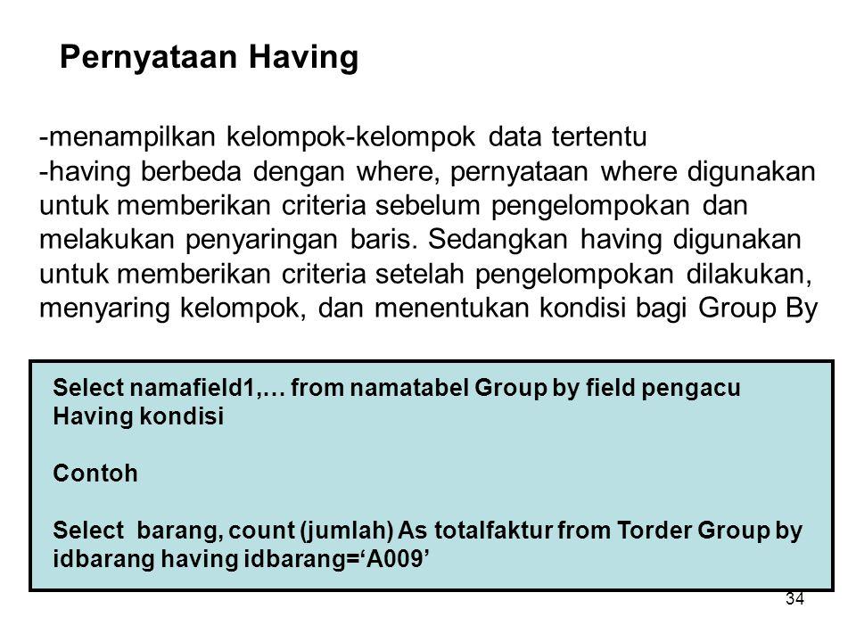 Pernyataan Having -menampilkan kelompok-kelompok data tertentu