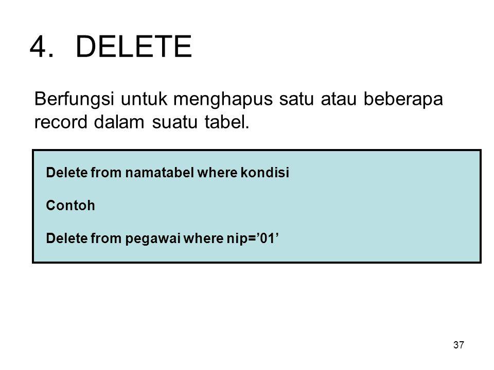 DELETE Berfungsi untuk menghapus satu atau beberapa record dalam suatu tabel. Delete from namatabel where kondisi.