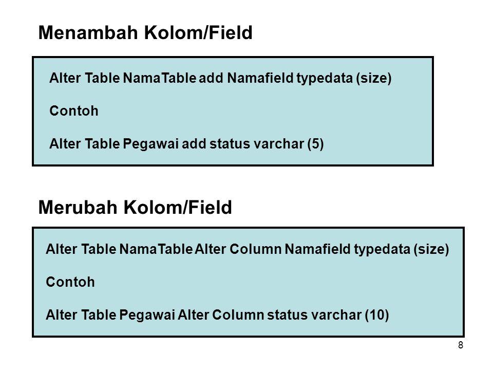 Menambah Kolom/Field Merubah Kolom/Field