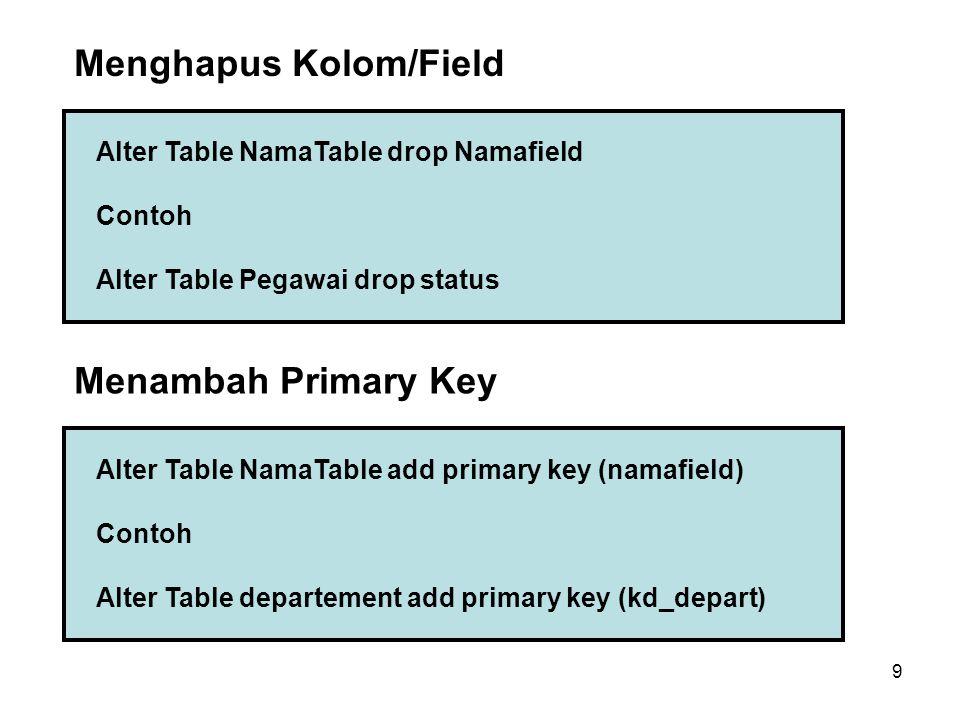 Menghapus Kolom/Field