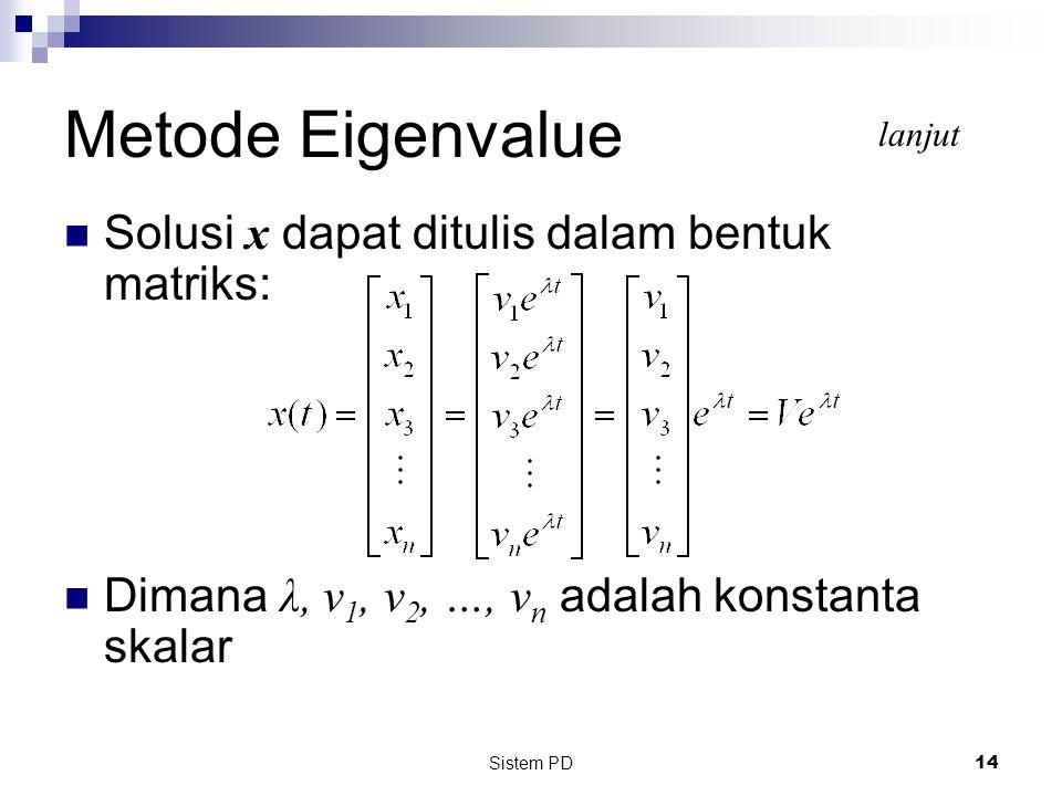 Metode Eigenvalue Solusi x dapat ditulis dalam bentuk matriks:
