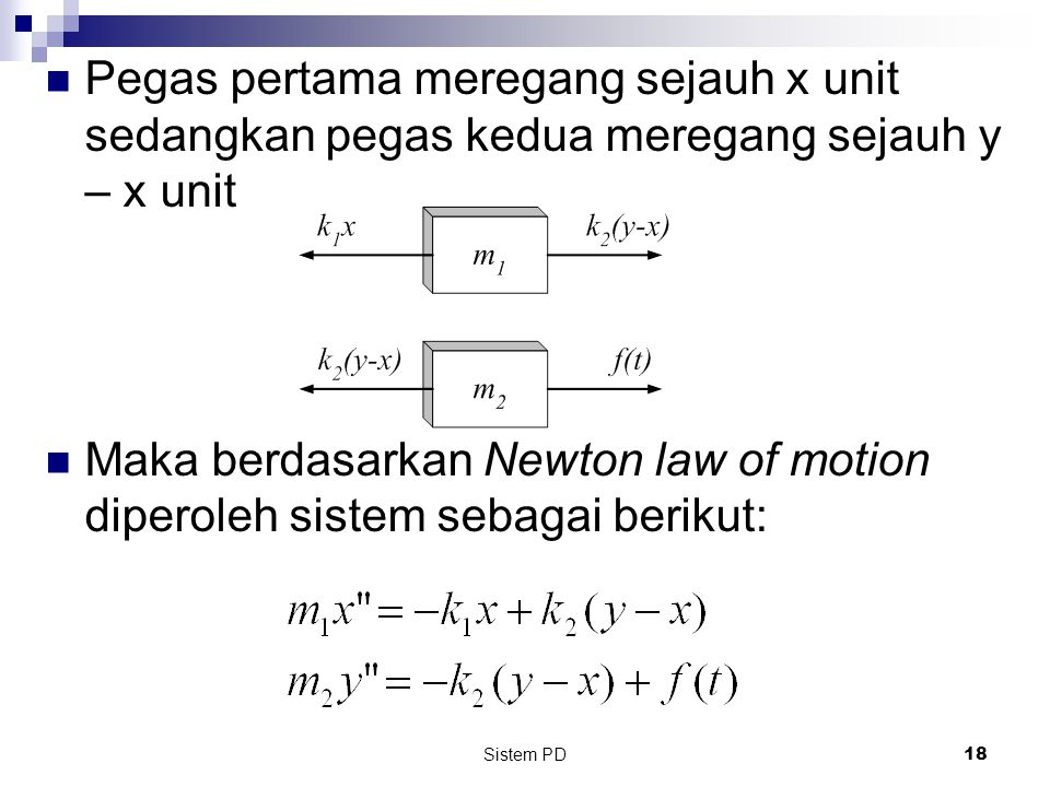 Pegas pertama meregang sejauh x unit sedangkan pegas kedua meregang sejauh y – x unit
