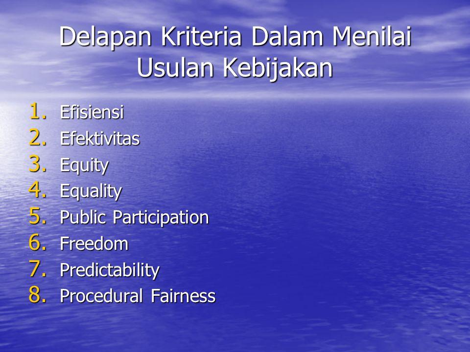 Delapan Kriteria Dalam Menilai Usulan Kebijakan