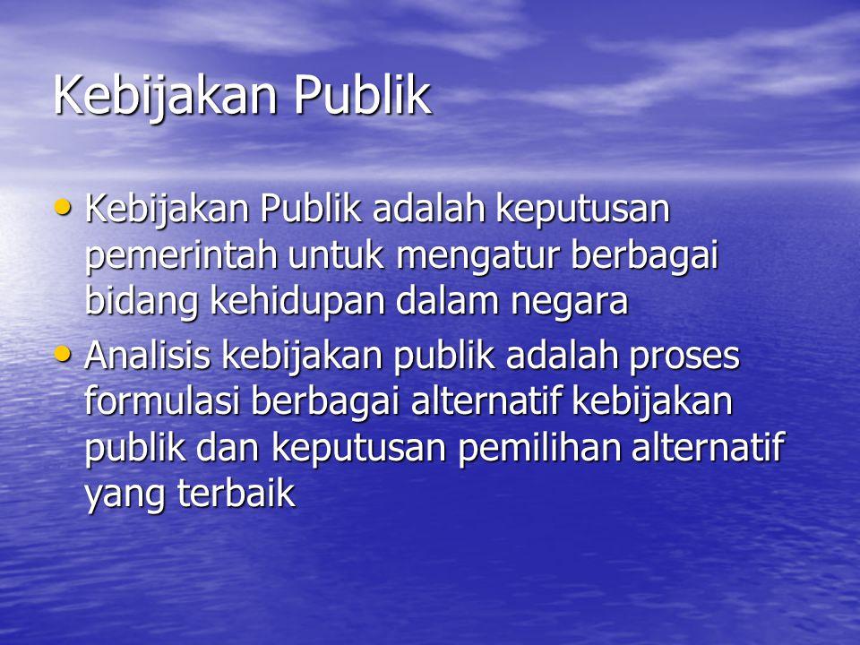Kebijakan Publik Kebijakan Publik adalah keputusan pemerintah untuk mengatur berbagai bidang kehidupan dalam negara.