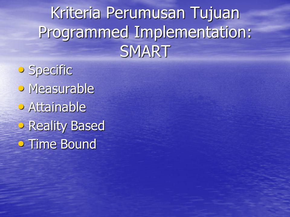Kriteria Perumusan Tujuan Programmed Implementation: SMART