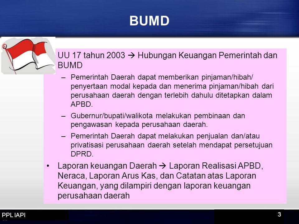 BUMD UU 17 tahun 2003  Hubungan Keuangan Pemerintah dan BUMD