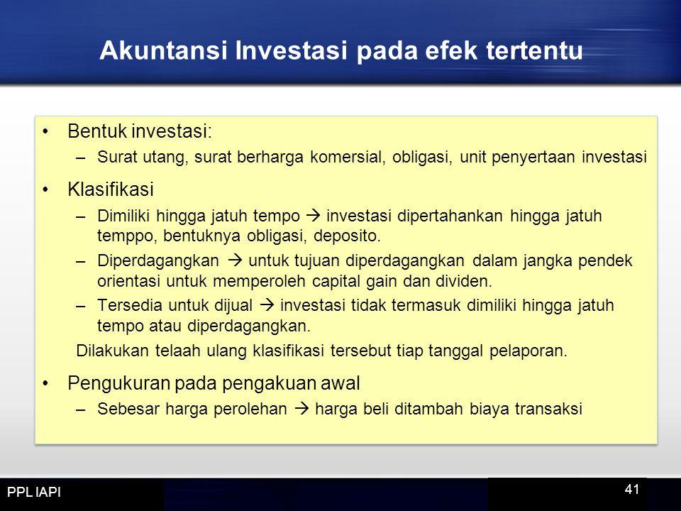 Akuntansi Investasi pada efek tertentu