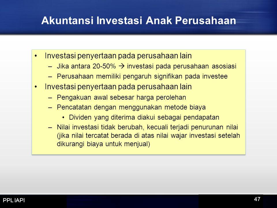 Akuntansi Investasi Anak Perusahaan