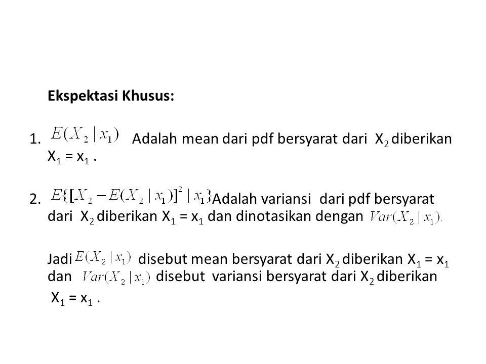 Ekspektasi Khusus: 1. Adalah mean dari pdf bersyarat dari X2 diberikan X1 = x1 .