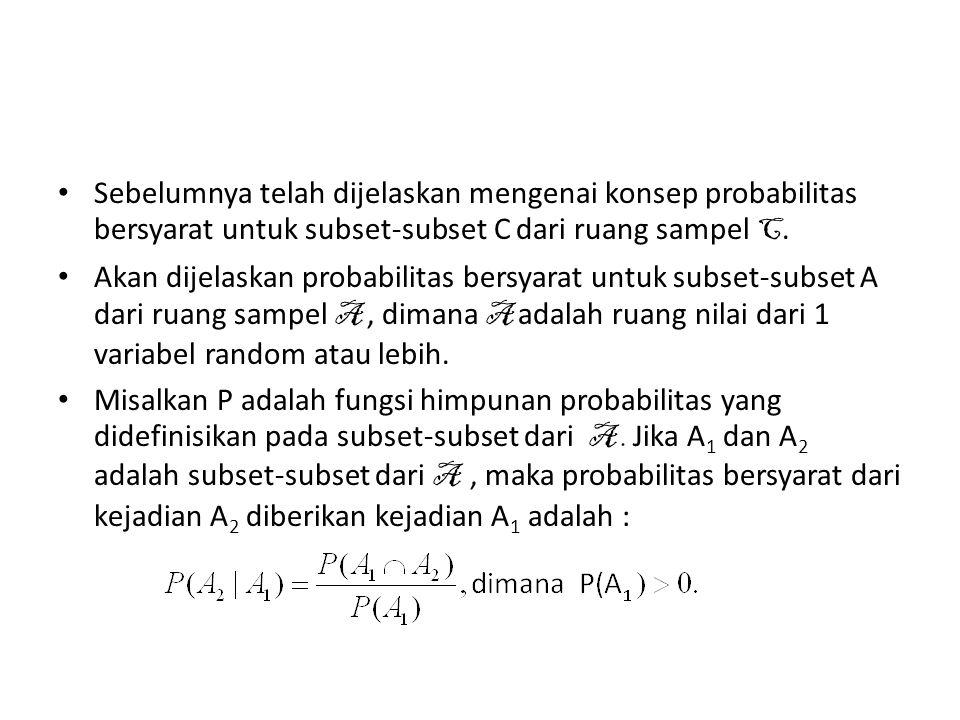 Sebelumnya telah dijelaskan mengenai konsep probabilitas bersyarat untuk subset-subset C dari ruang sampel C.