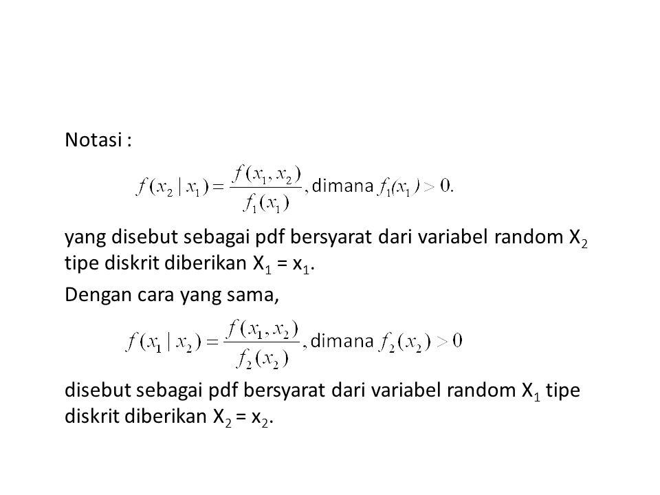 Notasi : yang disebut sebagai pdf bersyarat dari variabel random X2 tipe diskrit diberikan X1 = x1.