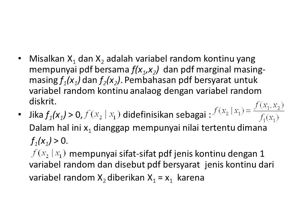 Misalkan X1 dan X2 adalah variabel random kontinu yang mempunyai pdf bersama f(x1,x2) dan pdf marginal masing-masing f1(x1) dan f2(x2). Pembahasan pdf bersyarat untuk variabel random kontinu analaog dengan variabel random diskrit.