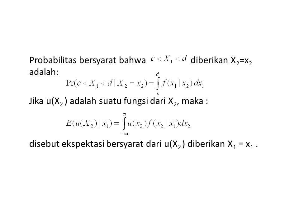 Probabilitas bersyarat bahwa diberikan X2=x2 adalah: Jika u(X2 ) adalah suatu fungsi dari X2, maka : disebut ekspektasi bersyarat dari u(X2 ) diberikan X1 = x1 .