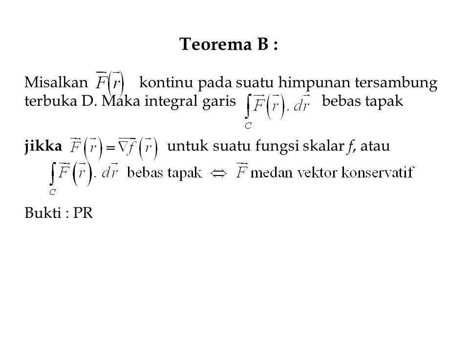 Teorema B : Misalkan kontinu pada suatu himpunan tersambung terbuka D. Maka integral garis bebas tapak.