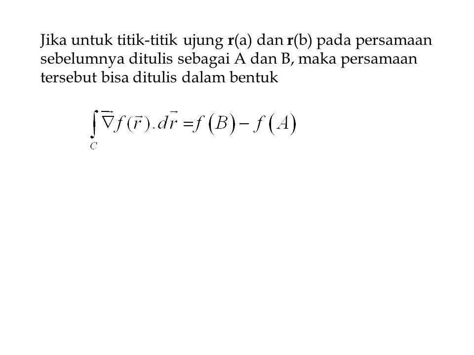 Jika untuk titik-titik ujung r(a) dan r(b) pada persamaan sebelumnya ditulis sebagai A dan B, maka persamaan tersebut bisa ditulis dalam bentuk