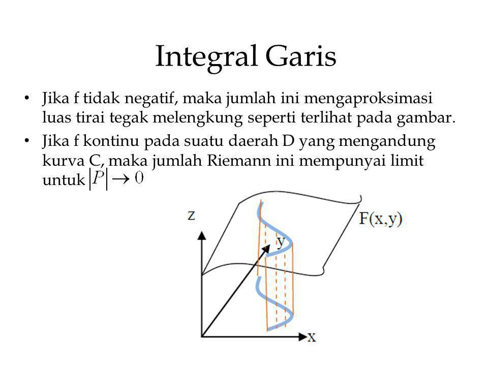 Integral Garis Jika f tidak negatif, maka jumlah ini mengaproksimasi luas tirai tegak melengkung seperti terlihat pada gambar.
