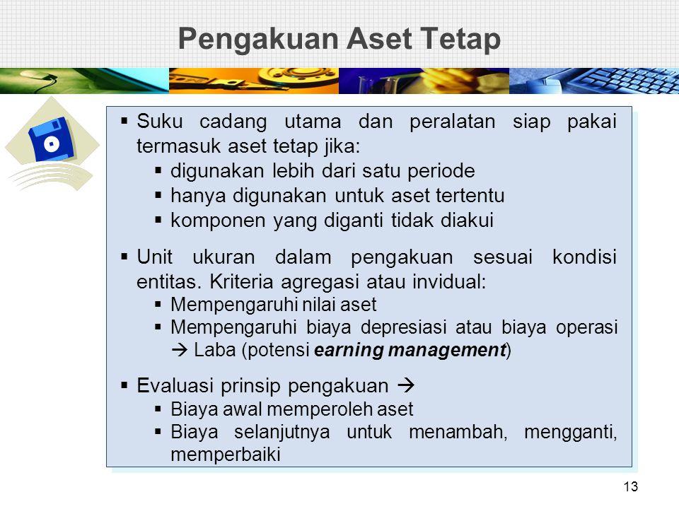 Pengakuan Aset Tetap Suku cadang utama dan peralatan siap pakai termasuk aset tetap jika: digunakan lebih dari satu periode.